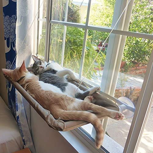 Galapara Hamaca para Ventana de Gato o Perca, Columna montada en la Cama del Gato Enfriamiento Lona Transpirable Ventosas Sunbath Hamaca Cama para Gatos Perros