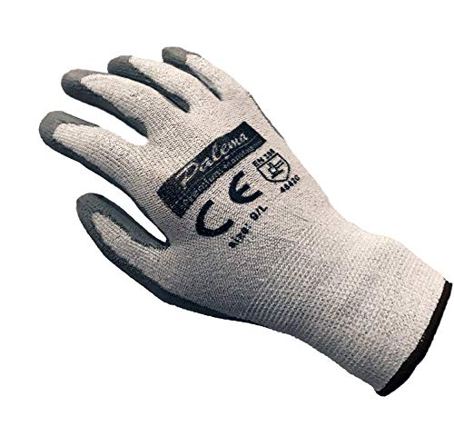 Palema ® schnittfeste Handschuhe mit Latex Beschichtung – Schnittschutz im Garten, Hobby, Beruf - Level 5 Schutz. Farbe Silber, Größe Gr. S - 1 Paar - 22 cm