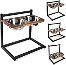 Emfogo Dog Cat Bowls Raised Dog Bowl Stand Feeder Adjustable Elevated 3 Heights5in 9in 13in with Stainless Steel Food and Water Bowls for Small to Large Dogs and Cats 16.5x16 inch(Carbonized Black)