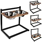 Emfogo Dog Cat Bowls Raised Dog Bowl Stand Feeder Adjustable Elevated 3 Heights5in 9in 13in with Stainless Steel Food and Water Bowls for Small to Large Dogs and Cats 16.5x16 inch,Patented