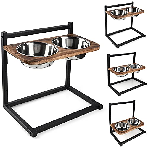Emfogo Dog Cat Bowls Raised Dog Bowl Stand Feeder Adjustable Elevated 3 Heights5in 9in 13in with Stainless Steel Food and Water Bowls for Small to Large Dogs and Cats 16.5×16 inch(Carbonized Black)