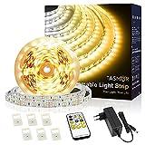 Tasmor Tira LED Regulable 5M, Tira LED 3000K Blanco Cálido 12V, Tira LED Blanco Frío 6000K con 300 LEDs, Cadena de Luz LED Flexible con Control Remoto RF para Armario, Cocina, Decoración Navidad