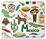 Alfombrilla de ratón Mexicana, Dibujo Colorido Divertido Pirámide de Chile de México Nachos Cactus Music Poncho Pattern, Mousepad, Olive Mostaza