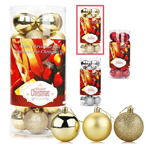 Aitsite 24PCS Palle di Natale Palle per Albero di Natale Bauble 6 CM Porta Applique Ornamenti Decorazioni Albero Palle Decorative Festa per Matrimoni Forniture