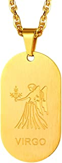 12 Constellations Dog Tag Pendant Necklace for Men Women Stainless Steel/18K Gold Plated Astrology Jewelry Zodiac Charm with Chain