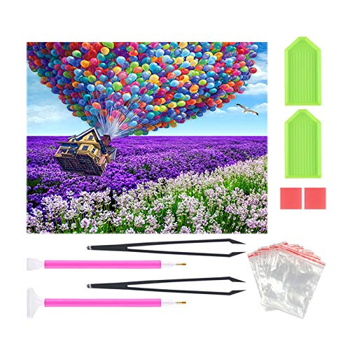 Diamond Painting Kits for Adults Full Drill Round Diamond Embroidery Rhinestones Cross Stitch Scenery Kits Hot Air Balloon On Lavender Flower Sea 16x12 inch