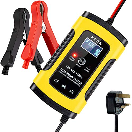 BUDDYGO Fully Automatic Battery Charger, 5A 12V Car Battery Charger & Maintainer- UK Plug, Yellow