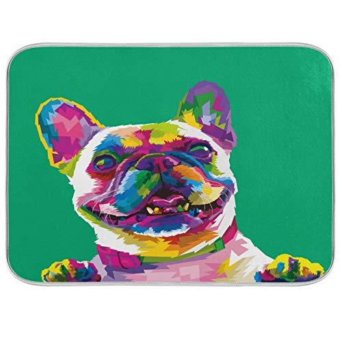 ALAZA French Bulldog Puppy Dog Green Dish Drying Mat for Kitchen Counter 18 x 24 Inch