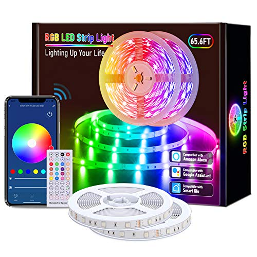 Smart LED Strip Lights, 65.6ft WiFi RGB Rope Light Work with Alexa Google Assistant, Remote App Control Lighting Kit, Music Sync Color Changing Lights for Bedroom, Living Room, Kitchen