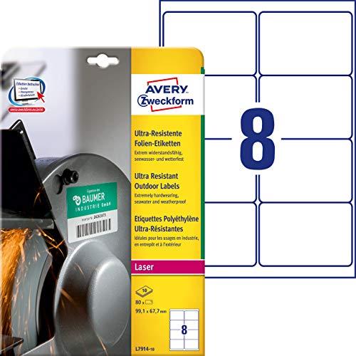 AVERY Zweckform L7914-10 Strapazierfähige Folienetiketten (99,1x67,7 mm auf DIN A4, extrem stark selbstklebend, wasserfest, bedruckbare Outdoor Klebefolie) 80 Aufkleber auf 10 Blatt weiß