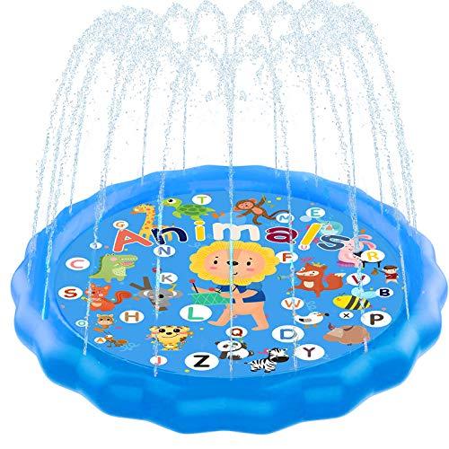 """Kidcia Splash Pad, 68"""" Sprinkler for Kids & Toddlers, Kids Sprinkler Pool for Outdoor Summer Game..."""
