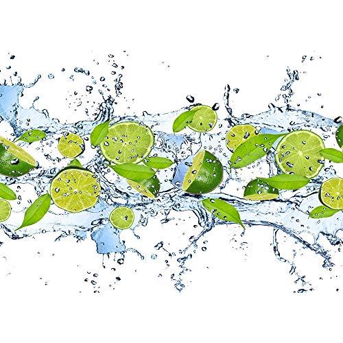 Vlies Fototapete 200x140 cm PREMIUM PLUS Wand Foto Tapete Wand Bild Vliestapete - Kulinarisches Tapete Limetten Wasser Blätter Tropfen Obst Frucht grün - no. 864