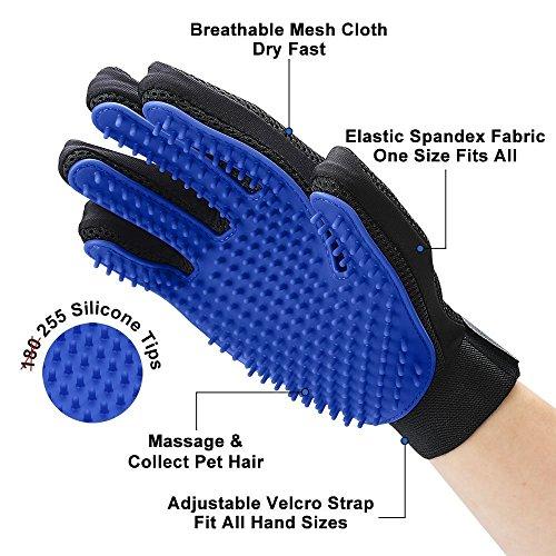 [Upgrade Version] Pet Grooming Glove - Gentle Deshedding Brush Glove - Efficient Pet Hair Remover Mitt - Enhanced Five Finger Design - Perfect for Dog & Cat with Long & Short Fur - 1 Pair (BLUE)