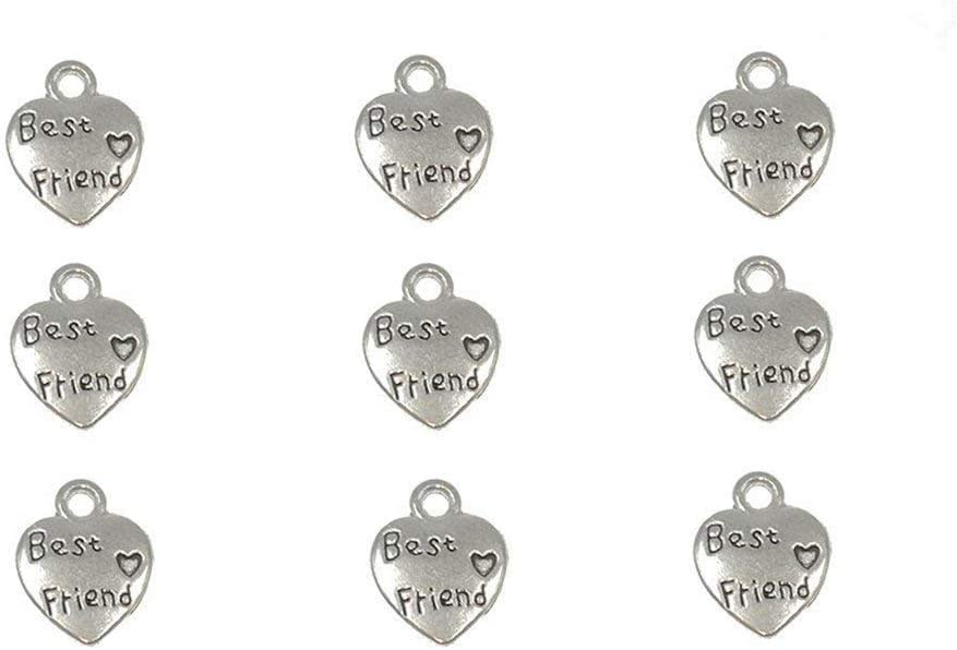 60pcs Best Friend Lettering Charm Peach Heart Shape Double-Side Pendant for DIY Bracelet Necklace Jewelry Making Findings(Silver Tone)