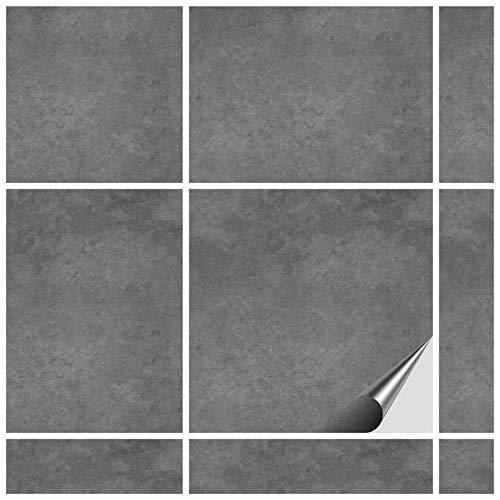 FoLIESEN Fliesenaufkleber 20x20 cm - Fliesen-Folie Bad - Klebefolie Küche - 60 Klebefliesen, Dekor Beton
