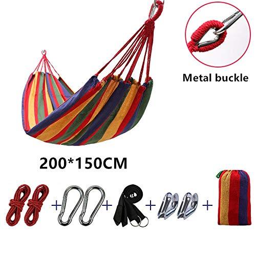 ZGRZ 200 * 150 cm, 300 kg, 2-3 Personas Hamaca Rayada Cama de Ocio al Aire Libre Cama de Lona Engrosada Cama Colgante Hamaca Columpio para Acampar Caza