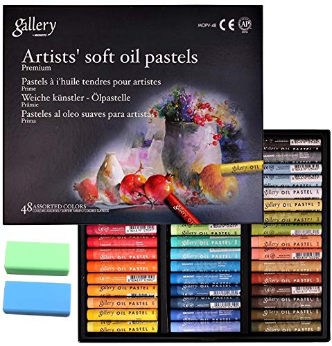 Mungyo Gallery Non Toxic Soft Oil Pastels Set of 48 Assorted Colors Bundle with Rubber Pastel Erasers for Artist and Professionals