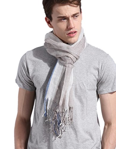 prettystern - 200cm Lang Gestreifter Schal aus 100% Leinen XXL Maritim Style Herrenschal - 2 Blau-weiß-grau