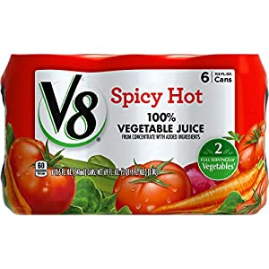 V8 Spicy Hot 100% Vegetable Juice, 11.5 oz. Can (4 packs of 6, Total of 24) |