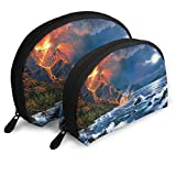 Portable Shell Makeup Storage Bags Cool Volcano Art Illustration Travel Waterproof Toiletry Organizer Clutch Pouch for Women