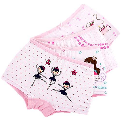 FAIRYRAIN FAIRYRAIN Baby Kleinkind Mädchen Cartoon Mädchen Pantys Hipster Shorts Spitze Baumwollunterhosen Unterwäsche 4 Packung 4-5 Jahre
