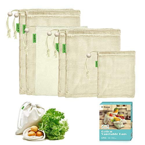 E-Know Gemüsebeutel,6er Gemüsenetz, Natural Baumwolle,Einfach zu Reinigen, Plastikfrei Einkaufen,Zero-Waste(1 kleine, 2 mittlere, 2 große,1 Aufbewahrungstasche)-MEHRWEG