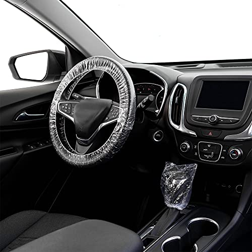 600 PCS Universal Disposable Steering Wheel Cover, Plastic Gear Shift Cover and Car Steering Wheel Covers Elastic Trim,Transparent Plastic Steering Wheel Covers, Elastic Vehicle Steering Wheel Cover