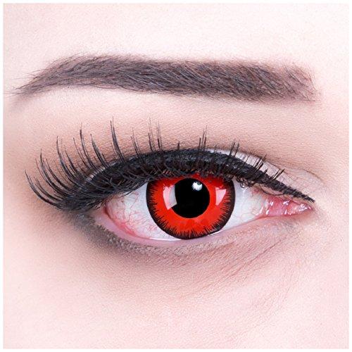 Funnylens 1 Paar farbige rote schwarze Crazy Fun Red Lunatic Vampir Zombie Jahres Kontaktlinsen perfekt zu Halloween, Karneval, Fasching oder Fasnacht mit gratis Kontaktlinsenbehälter ohne Stärke!