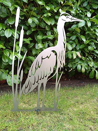 Gartendeko Fockbek Metallfigur Gartenfigur Reiher Höhe ca. 70 cm Rostfigur Garten Figur Teich Deko Fischreiher Graureiher Rostdeko