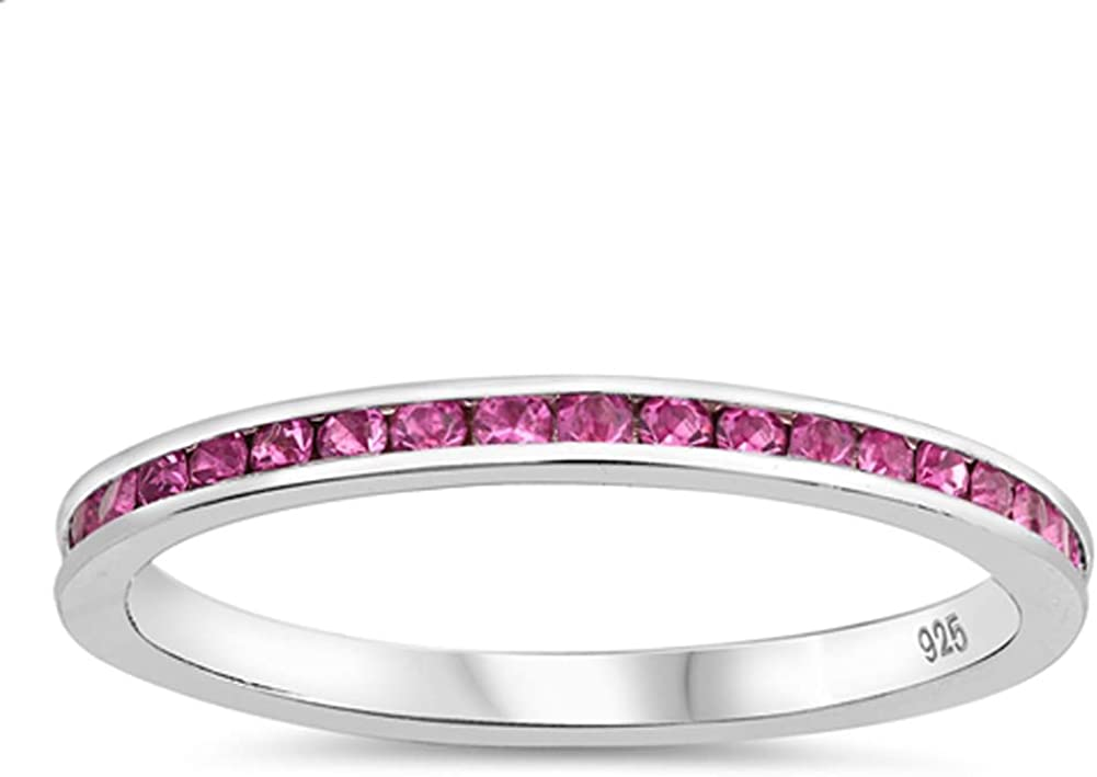 Pink CZ store Stacking Directly managed store Eternity Wedding Ring .925 Sterling New Silver