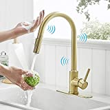Gold Touch Kitchen Faucets with Pull Down Sprayer Brass Single Handle Automatic Kitchen Sink Faucet with Pull Out Sprayer Smart Kitchen Faucet Gold, Stainless Steel Kitchen Faucet Brushed Gold