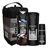 AXE Gift Set Shower Bag With Body Spray, Antiperspirant & Deodorant Stick and Body Wash for Grooming Black for Holiday