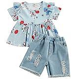 Chollius - Disfraz de verano para niña, manga corta, cuello redondo, estampado floral + pantalones vaqueros, 18 meses a 6 años azul 2-3 Años