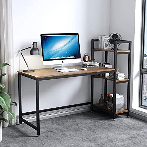 Dripex Mesa Escritorio Ordenador con Estantes Reversibles, Escritorio de Esquina con Almacenamiento, Mesa Estudio PC 131x60x110cm,Moderno, Resistente y Estable, Mesa Madera Oficina casa,Nogal Claro
