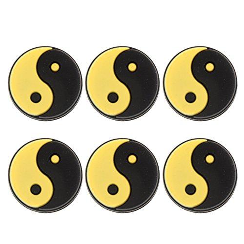 Toygogo 6Pcs / Pack Silicona Yin Y Yang Diseño Raqueta De Tenis Amortiguador De Vibraciones Amortiguador Amarillo Blanco - Amarillo Negro
