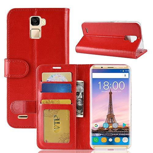 tinyue® Für Oukitel K5000 Hülle, Ultradünne PU-Ledertasche Flip Wallet Cover, R64 strukturierte Business Style Ledertasche, Rot