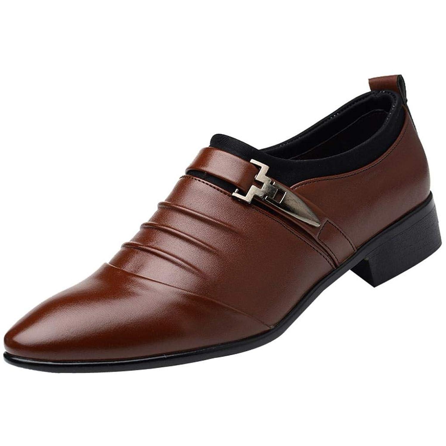 Limsea 2019 New British Fashion Men's Leather Pointed Toe FOrangemal Wedding Shoes