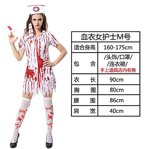 MYing Halloween Kostüm Erwachsene Hexe weiß Schnee Prinzessin Kleid Kleidung Hexe Cosplay spielt Vampir Anzug-Bloodcoat Krankenschwester M