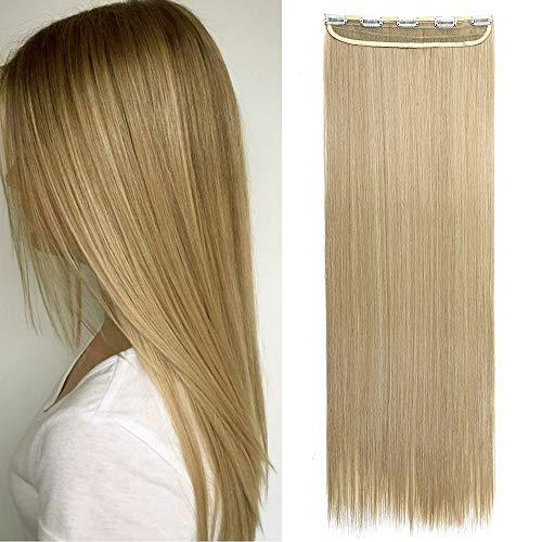 Haarteil Clip in Extensions Haarverlängerung 1 Tresse 5 Clips Synthetische Haare Günstig Glatt wie Echthaar 26