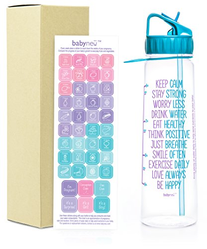 AQUANEÜ babyneü Pregnancy Gift Time Marked Water Bottle with Motivational Quote, Daily Water Intake. BPA-Free, Straw, sip top (BABST Aqua)