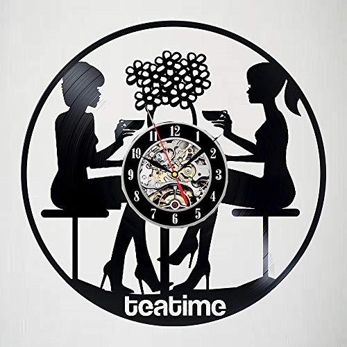 Reloj de Pared con Disco de Vinilo Tea Time - Emocionante decoración...