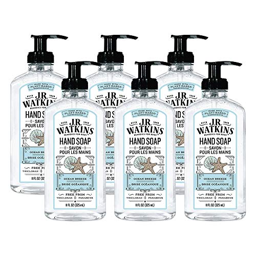 J.R. Watkins Gel Hand Soap, Scented Liquid Hand Wash for Bathroom orKitchen, USA Made and Cruelty Free, 11 fl oz, Ocean Breeze, 6 Pack