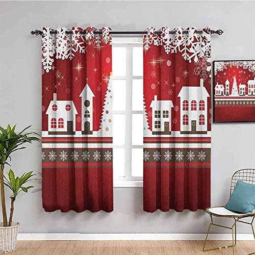 LWXBJX Opacas Cortinas Dormitorio - Rojo copos de nieve árbol de navidad lindo - Impresión 3D Aislantes de Frío y Calor 90% Opacas Cortinas - 200 x 160 cm - Salon Cocina Habitacion Niño Moderna Decora