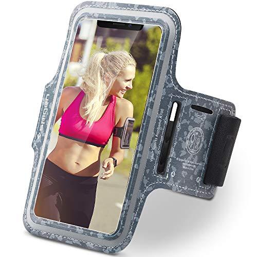 Spigen Sportarmband, [A700] Bis 6,2 Zoll [Camo] Universal schweißfest Doppelt-genähter Klettverschluss Handy Fitness Armband Handytasche Sport für iPhone/Galaxy/Huawei - A700