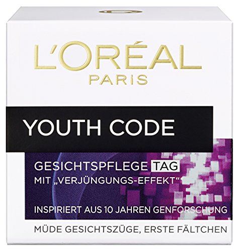 L'Oreal Paris Youth Code Tagespflege, mit Verjüngungs-Effekt, spendet Feuchtigkeit und glättet die Haut, 50 ml