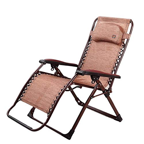 Silla Plegable Ligera Tumbonas, Gravedad cero Silla del patio Tumbona Silla plegable al aire libre Patio reclinables for Hamaca Beach Lawn silla que acampa portable (color: Patrón Brown, tamaño: 240 k