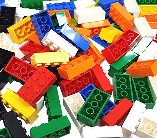 LEGO 100 x gemischte 2x4 Bricks. Zufällige Farben Rot, Gelb, Blau, Grün usw. Teil 3001