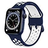 Marlova Compatible with Apple Watch Bands 40mm 38mm, Soft Silicone Breathable Air Hole Sport Wristbands with Classic Clasp for iWatch Series Se/6/5/4/3/2/1, Navy/White 38mm 40mm (Watch Not Included)