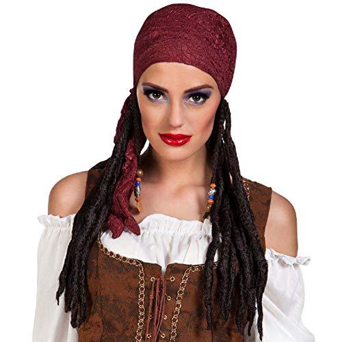 Boland BOL85784 Perruque de pirate avec bandana bordeaux