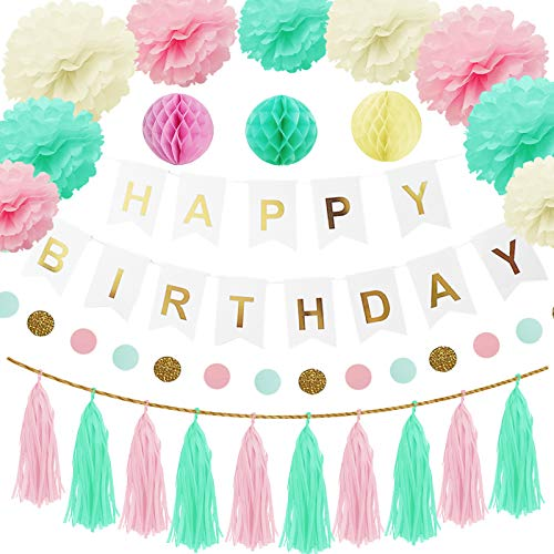 Happyhours Birthday Party Decorations 38pcs with 10 Paper Pompoms, 6 Honeycomb Balls, 1 Happy Birthday Banner, 1 Dot Paper Garland, 20 Tissue Tassel Banner for Girls & Boys in Pink White & Mint Green
